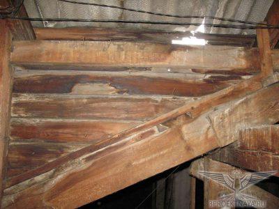 Фото В14. Массовые протечки кровли; Поражение древесины элементов крыши гнилью и жучком, следы увлажнения повсеместно