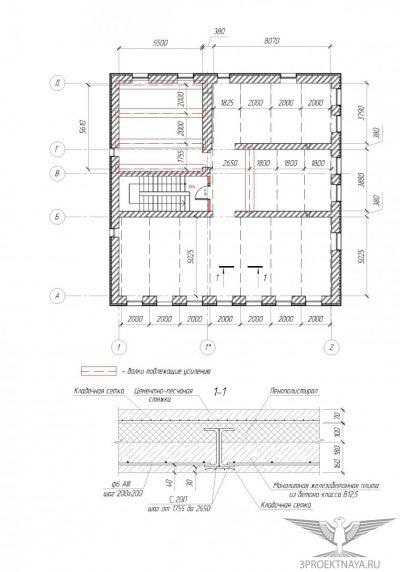 Рисунок 3. Схема расположения металлич. балок и конструкции перекрытия над 2-ым этажом