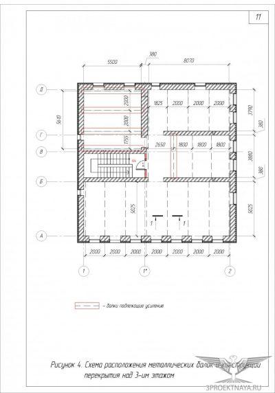 Рисунок 4. Схема расположения металлич. балок и конструкции перекрытия над 3-им этажом
